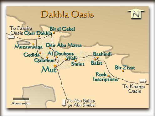 Dakhla Map Oasis Egypt